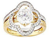 Cubic Zirconia Silver And 18k Yellow Gold Over Silver Ring With Guard 2.89ctw (1.70ctw DEW)