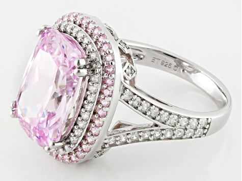 Pink And White Cubic Zirconia Silver Ring 14.08ctw (9.13ctw DEW)