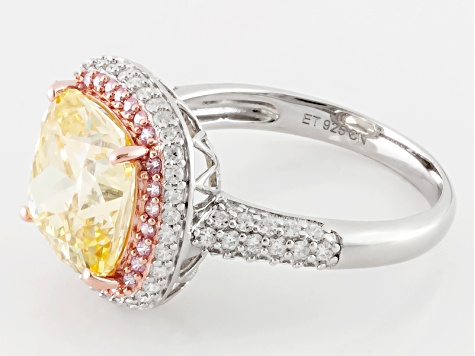 Yellow, Pink And White Cubic Zirconia Silver Ring 10.80ctw (4.42ctw DEW)