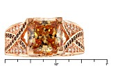 Brown And White Cubic Zirconia 18k Rose Gold Over Silver Ring 6.98ctw (4.76ctw DEW)