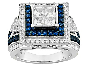 Synthetic Blue Corundum And White Cubic Zirconic Silver Ring 3.15ctw
