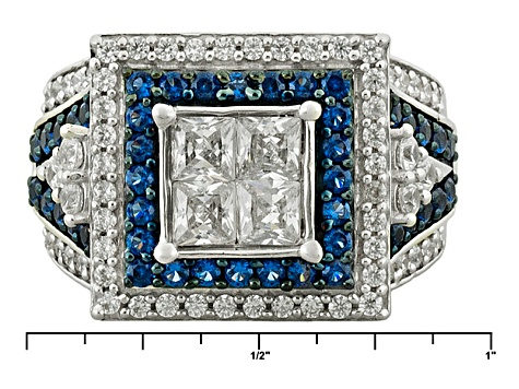 Blue Lab Created Sapphire And White Cubic Zirconia Rhodium Over Sterling Silver Ring 3.15ctw