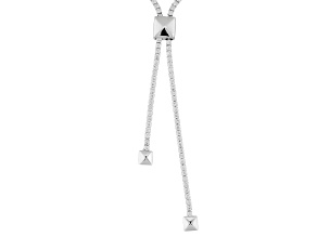White Cubic Zirconia Rhodium Over Sterling Silver Adjustable Necklace 23.81ctw