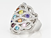 White/Blue/Lav/Pink/Yellow/Brown Cubic Zirconia Rhodium Over Silver Ring 5.85ctw
