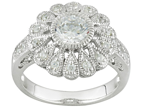 White Cubic Zirconia Rhodium Over Sterling Silver Ring 1.90ctw