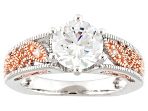 White Cubic Zirconia 18k Rose Gold Over Silver And Rhodium Over Silver Ring 3.51ctw