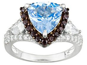Blue Synthetic Spinel, Brown And White Cubic Zirconia Rhodium Over Silver Ring 4.33ctw