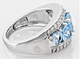 Lab Created Blue Spinel And White Diamond Simulant Rhodium Over Silver Heart Ring 3.30ctw