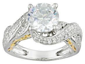 Cubic Zirconia Rhodium Over Sterling Silver Ring 5.50ctw