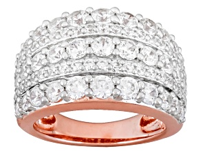 White Cubic Zirconia 18k Rose Gold Over Silver Ring 5.02ctw