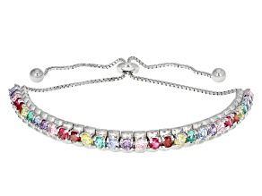 Multicolor Cubic Zirconia Rhodium Over Silver Bracelet 5.30ctw