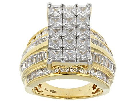 Cubic Zirconia 18k Yellow Gold Over Silver Ring 8.29ctw (4.79ctw DEW)