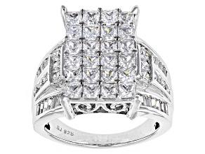 Cubic Zirconia Silver Ring 5.57ctw (4.02ctw DEW)