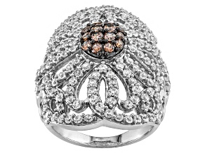 Brown And White Cubic Zirconia Silver Ring 5.07ctw (2.59ctw DEW)