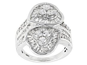 Cubic Zirconia Silver Heart Ring 4.48ctw (3.57ctw DEW)