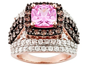 Pink, Brown And White Cubic Zirconia 18k Rose Gold Over Silver Ring 8.71ctw (4.53ctw DEW)