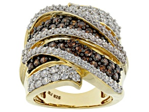 Bronw And White Cubic Zirconia 18k Yellow Gold Over Silver Ring 5.35ctw (2.25ctw DEW)