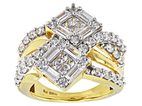 Cubic Zirconia 18k Yellow Gold Over Silver Ring 4.57ctw (2.68ctw DEW)