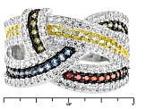 Multi Color Cubic Zirconia Rhodium Over Silver Ring 1.61ctw