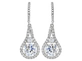 White Cubic Zirconia Rhodium Over Sterling Silver Earrings 7.85ctw