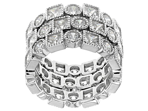 White Cubic Zirconia Rhodium Over Sterling Silver Rings 16.87ctw