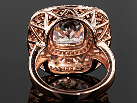 White Cubic Zirconia 18k Rose Gold Over Sterling Silver Ring 8.91ctw