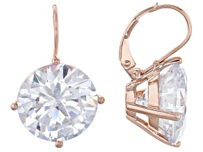 White Cubic Zirconia 18k Rose Gold Over Silver Earrings 32.22ctw