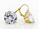 White Cubic Zirconia 18k Yellow Gold Over Sterling Silver Earrings 32.22ctw