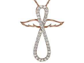 Cubic Zirconia 18k Rose Gold Over Silver Angel Wing Cross Pendant With Chain 1.09ctw (.57ctw DEW)