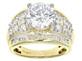 Cubic Zirconia 18k Yellow Gold Over Silver Ring 8.88ctw (5.17ctw DEW)