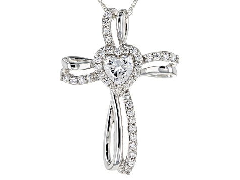 Cubic Zirconia Silver Cross Heart Pendant With Chain 2.31ctw (1.31ctw DEW)