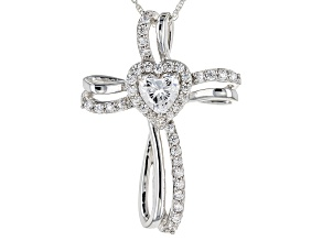 Cubic Zirconia Rhodium Over Sterling Silver Cross Heart Pendant With Chain 2.31ctw (1.31ctw DEW)