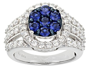 Blue And White Cubic Zirconia Silver Ring 2.79ctw