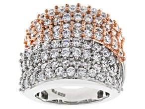 Cubic Zirconia Silver And 18k Rose Gold Over Silver Ring 6.10ctw (2.82ctw DEW)