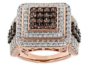 Brown And White Cubic Zirconia 18k Rose Gold Over Silver Ring 4.36ctw (2.02ctw DEW)