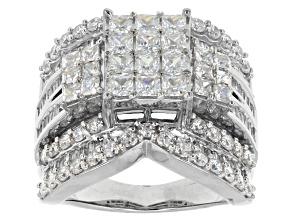 Cubic Zirconia Silver Ring 6.88ctw (4.37ctw DEW)