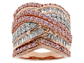 Pink And White Cubic Zirconia 18k Rose Gold Over Silver Ring 5.76ctw (4.58ctw DEW)
