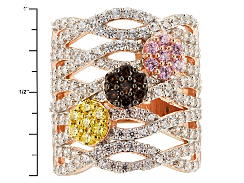 Brown, Yellow, Pink And White Cubic Zirconia 18k Rose Gold Over Silver Ring 5.11ctw (2.55ctw DEW)