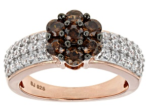 Brown And White Cubic Zirconia 18k Rose Gold Over Silver Ring 2.55ctw (1.31ctw DEW)