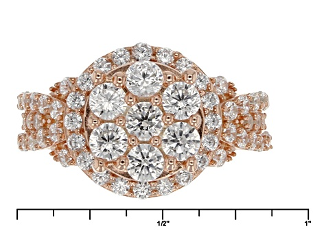 Cubic Zirconia 18k Rose Gold Over Silver Ring 2.87ctw (1.52ctw DEW)