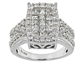 Cubic Zirconia Rhodium Over Sterling Silver Ring 3.48ctw (2.10ctw DEW)