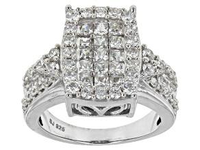 Cubic Zirconia Silver Ring 3.48ctw (2.10ctw DEW)