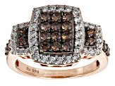 Brown And White Cubic Zirconia 18k Rose Gold Over Silver Ring 2.06ctw (1.03ctw DEW)