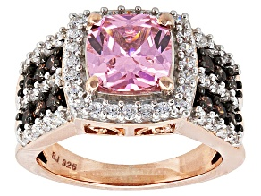 Pink, Brown And White Cubic Zirconia 18k Rose Gold Over Silver Ring 5.90ctw (3.12ctw DEW)