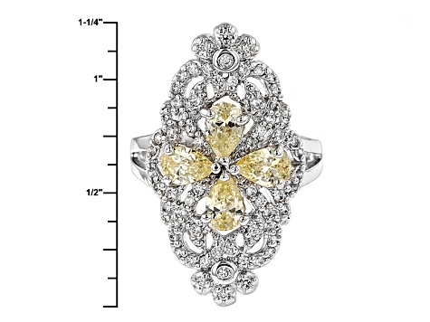 Yellow And White Cubic Zirconia Silver Ring 3.60ctw (1.93ctw DEW)