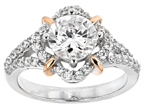 Cubic Zirconia Silver And 18k Rose Gold Over Silver Ring 2.80ctw (1.58ctw DEW)