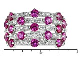Synthetic Red Corundum And White Cubic Zirconia Silver Ring 2.56ctw