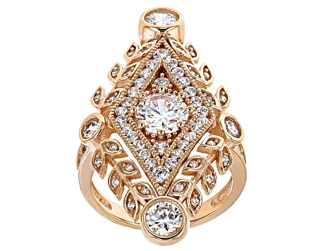 Cubic Zirconia 18k Rose Gold Over Silver Ring 4.37ctw (2.71ctw DEW)