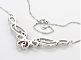 Red And White Cubic Zirconia Silver Necklace 2.23ctw
