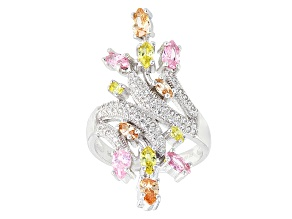 Brown, Yellow, Pink And White Cubic Zirconia Silver Ring 3.12ctw (2.03ctw DEW)
